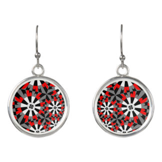 Fractal Red and Black Earrings