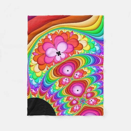 Fractal Retro Groovy Trip Fleece Blanket