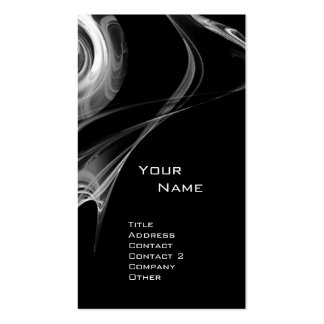 FRACTAL ROSE 3 bright light black and white grey Business Card Template
