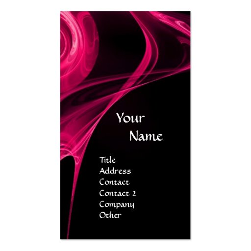 FRACTAL ROSE 3 bright pink black Business Card Template