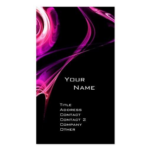 FRACTAL ROSE 3 bright pink purple violet black Business Card Template