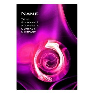 FRACTAL ROSE 4 MONOGRAM black bright purple pink Business Card