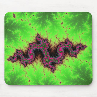 Fractal Snake - pink, fuchsia and neon green Mousepad