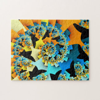 Fractal Spiral Orange Blue Jigsaw Puzzle