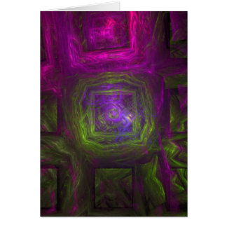 Fractal Squares in pink purple and green Greeting Card