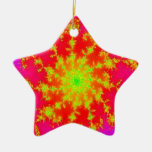 Fractal star Double-Sided star ceramic christmas ornament