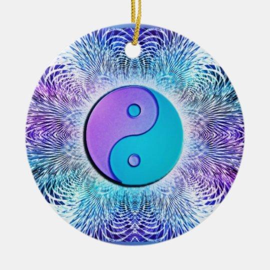 Fractal Sun Yin-Yang in Cool Pastels Christmas Ornament