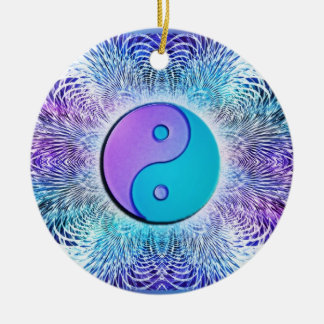 Fractal Sun Yin-Yang in Cool Pastels Round Ceramic Decoration