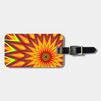 Fractal Sunflower Colorful Abstract Floral Art Bag Tag