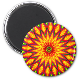Fractal Sunflower Colourful Abstract Floral Art 6 Cm Round Magnet