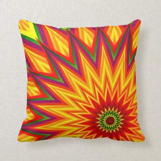 Fractal Sunflower Colourful Abstract Floral Art Cushion
