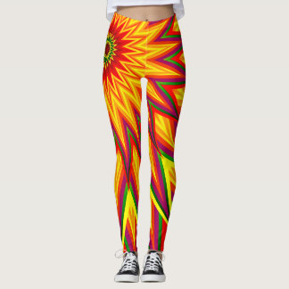 Fractal Sunflower Colourful Abstract Floral Art Leggings
