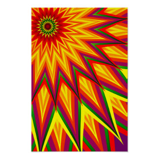 Fractal Sunflower Colourful Abstract Floral Art Poster