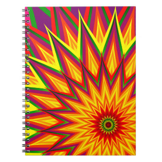 Fractal Sunflower Colourful Abstract Floral Art Spiral Notebook