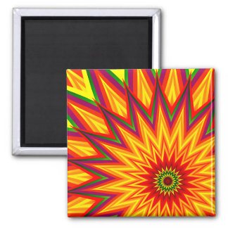 Fractal Sunflower Colourful Abstract Floral Art Square Magnet