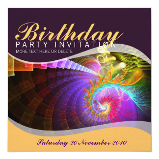 Fractal Swirl Birthday Party Invitation