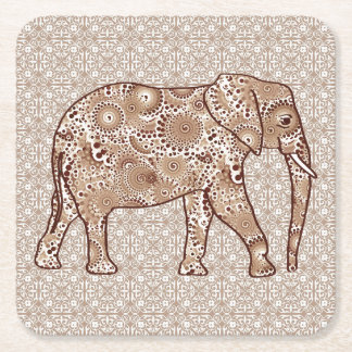 Fractal swirl elephant - brown and taupe square paper coaster
