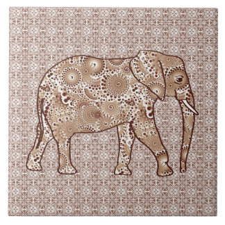Fractal swirl elephant - brown and taupe tile