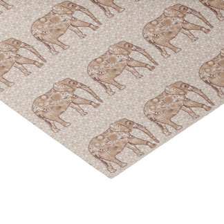 Fractal swirl elephant - brown and taupe tissue paper