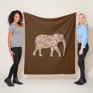 Fractal swirl elephant, coffee brown and beige fleece blanket