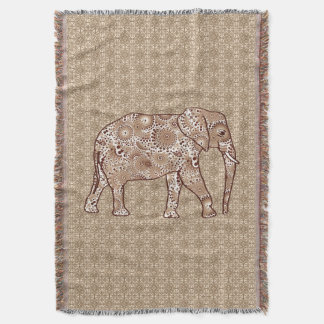 Fractal swirl elephant, coffee brown and beige throw blanket