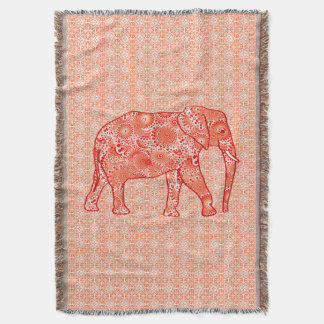 Fractal swirl elephant, coral orange and peach throw blanket