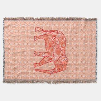 Fractal swirl elephant, coral orange and peach throw blanket