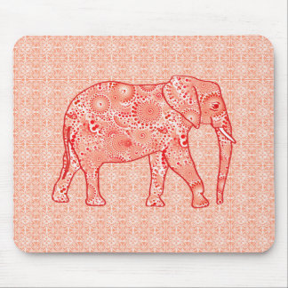 Fractal swirl elephant - coral orange and white mouse pad