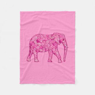 Fractal swirl elephant, fuchsia and pink fleece blanket