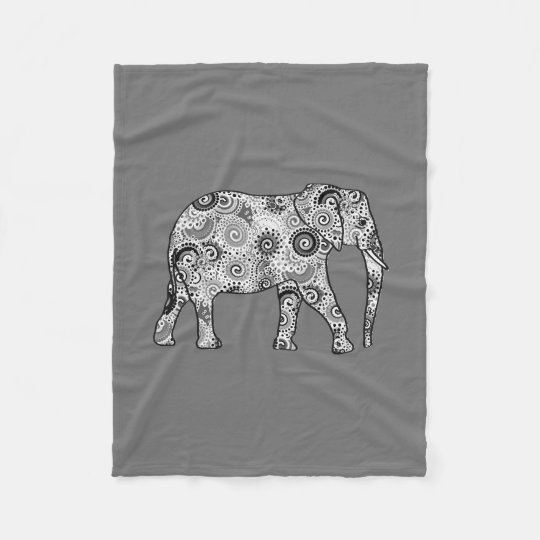 Fractal swirl elephant, grey, black and white fleece