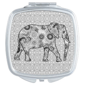 Fractal swirl elephant - grey, black and white makeup mirror