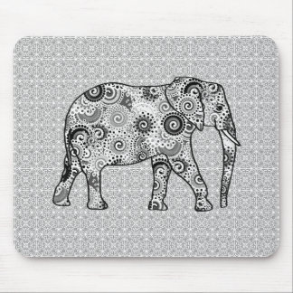 Fractal swirl elephant - grey, black and white mouse pad