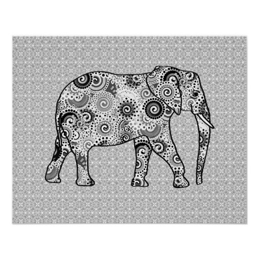 Fractal swirl elephant - grey, black and white