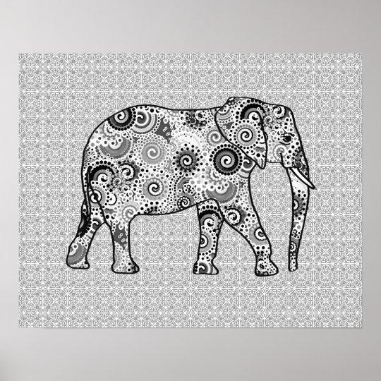 Fractal swirl elephant - grey, black and white