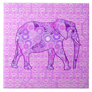 Fractal swirl elephant - purple and orchid large square tile
