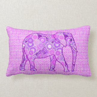 Fractal swirl elephant - purple and orchid lumbar cushion