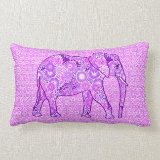 Fractal swirl elephant - purple and orchid lumbar cushion