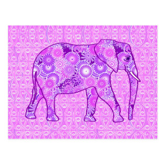 Fractal swirl elephant - purple and orchid postcard