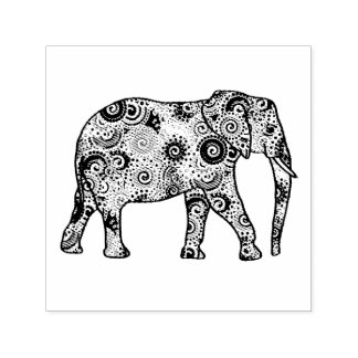 Fractal swirl embellished elephant self-inking stamp