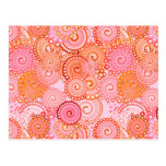 Fractal swirl pattern, coral and pink postcard