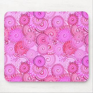 Fractal swirl pattern, pink and fuchsia mouse mat