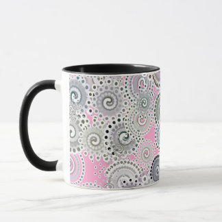 Fractal swirl pattern, pink and grey mug