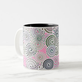 Fractal swirl pattern, pink and grey Two-Tone coffee mug