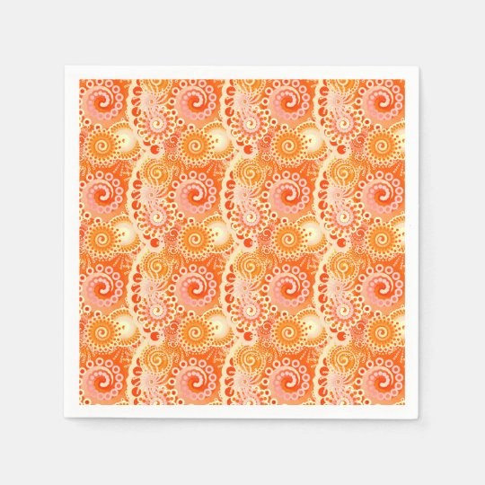 Fractal swirl pattern, shades of coral orange paper