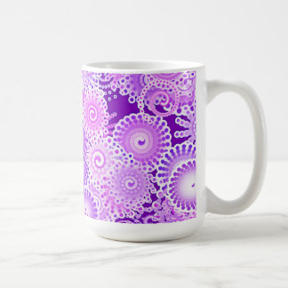 Fractal swirl pattern, shades of purple basic white mug