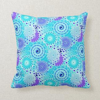 Fractal swirl pattern, turquoise, aqua, blue throw pillow