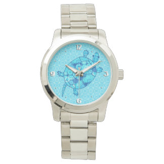 Fractal swirl turtle - cobalt and turquoise blue watch