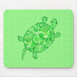 Fractal swirl turtle - lime and emerald green mouse pads