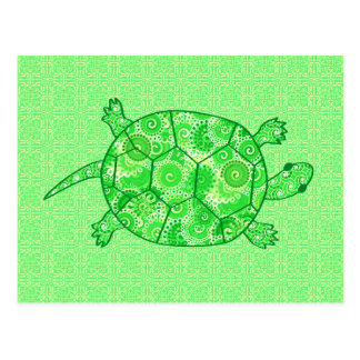 Fractal swirl turtle - lime and emerald green postcard