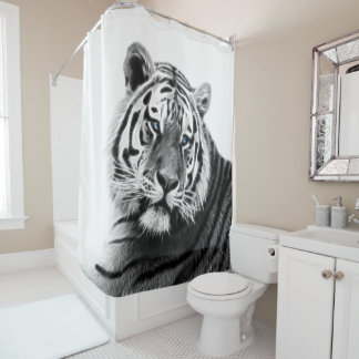 Fractal Tiger in Black and White Shower Curtain